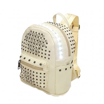 LED Light illuminating Backpack Bag - Beige
