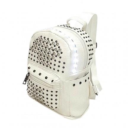 LED Light illuminating Backpack Bag - White