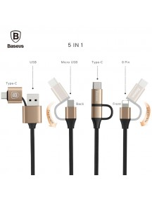 Baseus 5 in 1 Multifunctional 2A  with Type-C , Lightning and Micro USB Interface - Black