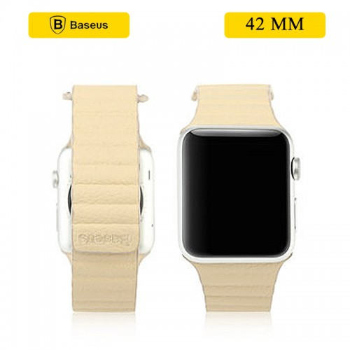 BASEUS Back Series Quilted PU Leather Loop Magnetic Closure Strap for Apple Watch 42mm - Khakhi