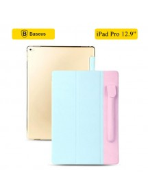 Baseus Simple Stylish 3-Fold Flip Smart Fold Leather Case with Pen Holder for iPad Pro - Blue/Pink