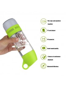 Portable  Water Bottle with Bluetooth Speaker - Green