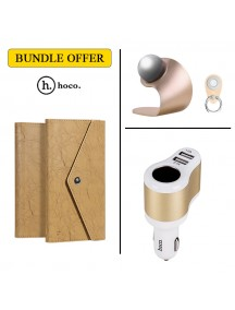 BUNDLE OFFER HOCO Wallet Case For All Smart phones + HOCO Car Mount & Grip + HOCO Car Charger