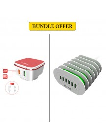 BUNDLE OFFER LDNIO QC 2.0 Home Charger + IOS Cable + 6 USB Charging Station