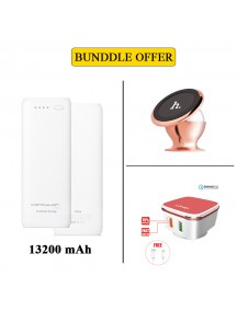 BUNDLE OFFER KONFULON Power Bank 13200 mAh + HOCO Car Mount + LDNIO QC 2.0 Home Charger