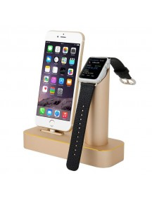 COTEetCI 2 in 1 Aluminum Charging Cradle Dock for iPhone & iWatch 42mm/38mm - Gold