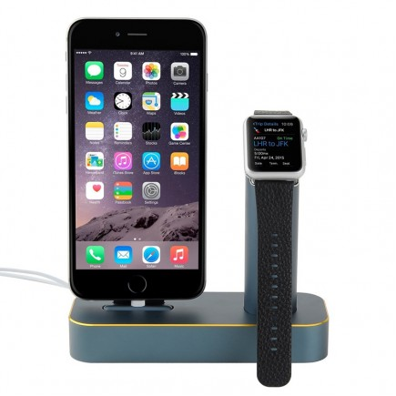 COTEetCI 2 in 1 Aluminum Charging Cradle Dock for iPhone & iWatch 42mm/38mm - Blue