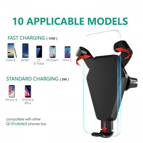 TotuLife Wireless Qi Car Charger With Air Vent Car Mount For iPhone X , iPhone 8 , S8 , Note 8
