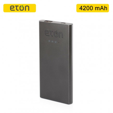 ETON Boost 4200 mAh Lithium Ion Power Bank - Silver/Gray