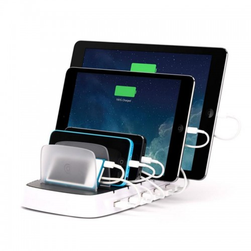 ELEKER 5 USB Port Power Dock Charging Station - White