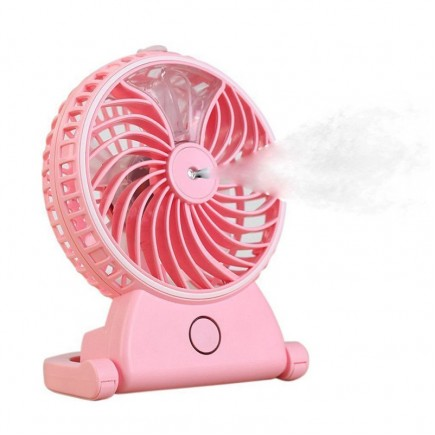 Rechargeable Water Mist Handheld Humidifier Portable Mini USB Fan - Pink