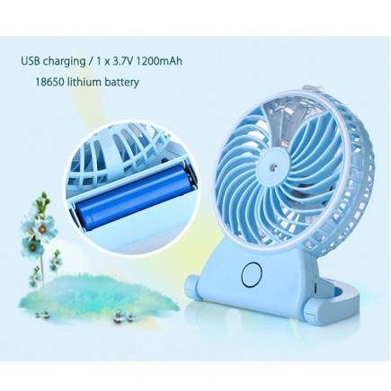 Rechargeable Water Mist Handheld Humidifier Portable Mini USB Fan - White