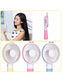 Princess Handheld Rabbit Portable USB Rechargeable Mini Fan - Blue