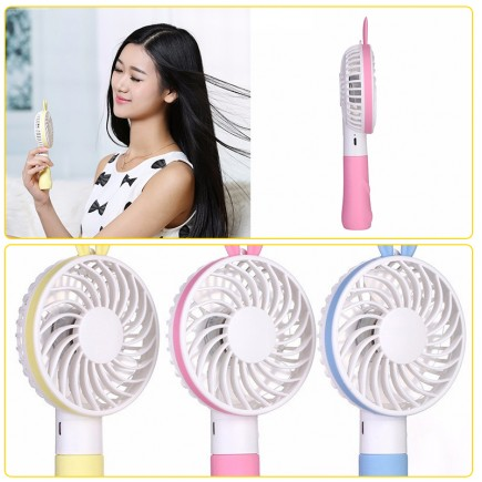 Princess Handheld Rabbit Portable USB Rechargeable Mini Fan - Yellow