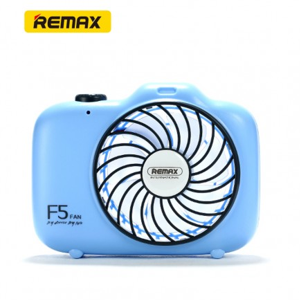 REMAX Camera Shape Rechargeable Mini USB Fan - Blue