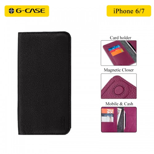G-Case Slim Leather Portfolio Wallet Case For iPhone 6/6S  , iPhone 7 , iPhone 8 - Black
