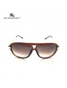 Burberry Round Cat-eye Sunglasses with Gold Temple & Red Frame