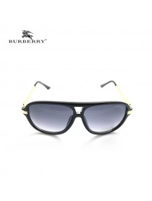 Burberry Round Cat-eye Sunglasses with Gold Temple & Black Frame