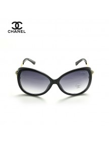 Chanel Oversized Sunglasses with Stone Studded Temple with Black Frame