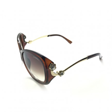 Chanel Oversized Sunglasses with Stone Studded Temple with Brown Frame