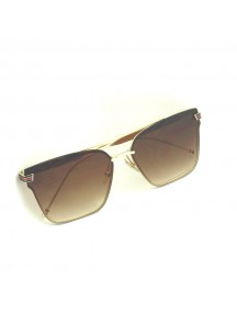 GUCCI Brown Lens Gold Temple Gold Lens Sunglasess
