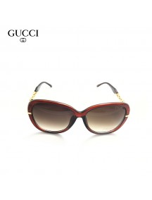 Gucci Oversized Sunglasses with Golden Design Temple with Red Frame