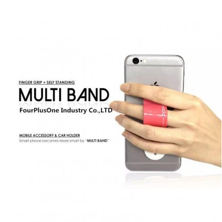 Multi Band Phone Grip & Cell Phone Holder & Self Stand for Smartphones & Tablets - Purple