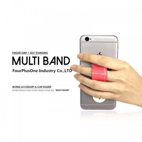 Multi Band Phone Grip & Cell Phone Holder & Self Stand for Smartphones & Tablets - Pink