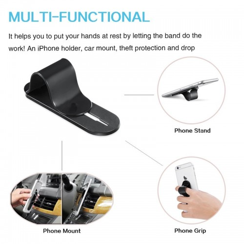 Multi Band Phone Grip & Cell Phone Holder & Self Stand for Smartphones & Tablets - Black