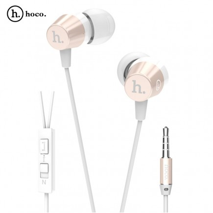 HOCO Titanium Alloy Universal In-Ear Wire Control Earphone with Mic - Gold