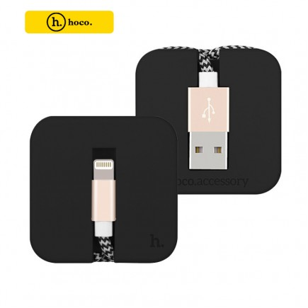 HOCO U4 Silicon Assemble Sync/Charger Lightning Cable for Apple Devices - Black