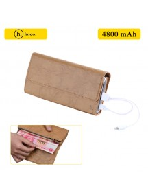 HOCO Wallet with 4800 mAh Power Bank For All Smart Phones - Brown