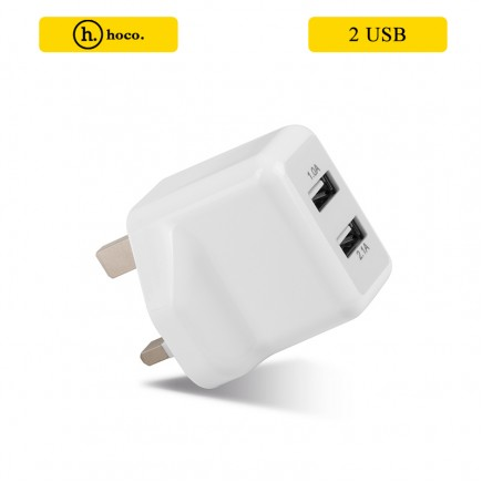 HOCO UH205 3.1A Quick Charging Dual 2 USB Charging Adapter UK Plug