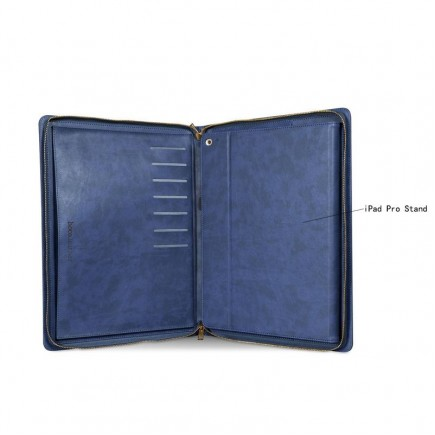 "HOCO 2 in 1 Genuine Leather Portfolio Series Briefcase Wake/sleep Case Stand for iPad Pro 12.9"" + free Tempered Glass - Blue"