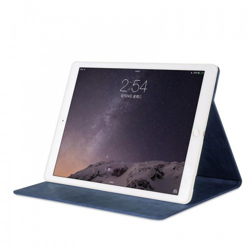 """HOCO 2 in 1 Genuine Leather Portfolio Series Briefcase Wake/sleep Case Stand for iPad Pro 12.9"""" + free Tempered Glass - Blue"""