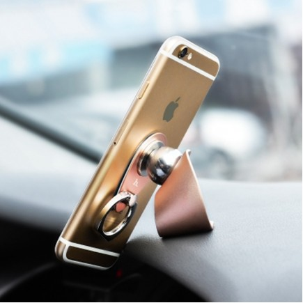HOCO CA4 Magnetic Car Holder with Ring Buckle Grip for Mobile Phone - Rose Gold
