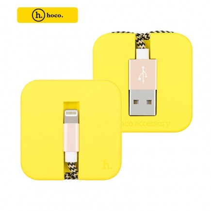 HOCO U4 Silicon Assemble Sync/Charger Lightning Cable for Apple Devices - Yellow