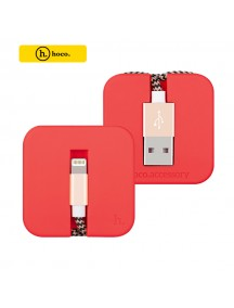 HOCO U4 Silicon Assemble Sync/Charger Lightning Cable for Apple Devices - Red