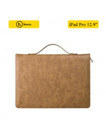 "HOCO 2 in 1 Genuine Leather Portfolio Series Briefcase Wake/sleep Case Stand for iPad Pro 12.9"" + free Tempered Glass - Brown"