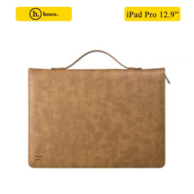 """HOCO 2 in 1 Genuine Leather Portfolio Series Briefcase Wake/sleep Case Stand for iPad Pro 12.9"""" + free Tempered Glass - Brown"""