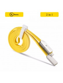 HOCO 2 In 1 Cheese Noodles Style 2.1A Lightning + Micro USB Charging Cable 120 CM - Yellow