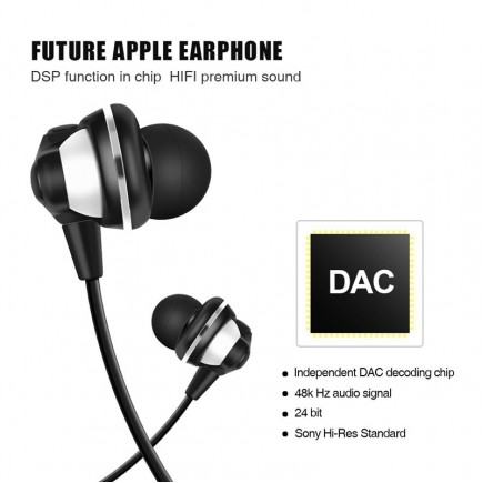 HOCO L1 Lightning USB Earphone for iOS Devices - Black