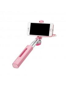 HOCO K1 Lipstick Wire Controlled Selfie Stick - Pink