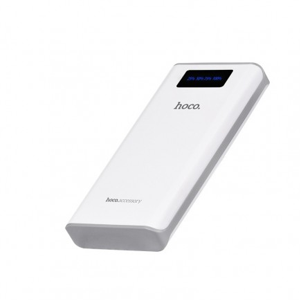 HOCO 15000 mAh Power Bank with 2 USB and Digital Power Bank with LED Display - White
