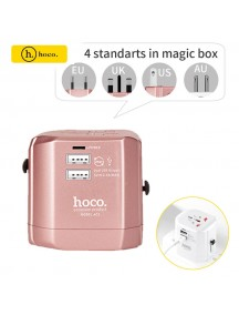 HOCO 2.4A Universal 2 USB Ports Travel Charger Folding Plugs EU UK US AU Smart Charging Adapter - Rose Gold