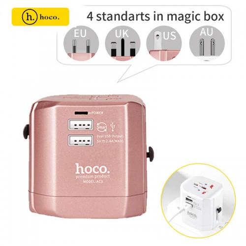 HOCO 2.4A Universal 2 USB Ports Travel C...