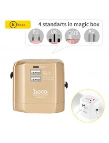 HOCO 2.4A Universal 2 USB Ports Travel Charger Folding Plugs EU UK US AU Smart Charging Adapter - Gold