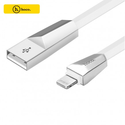 HOCO X4 Zinc Alloy Data Charging Cable For IOS Devices - White