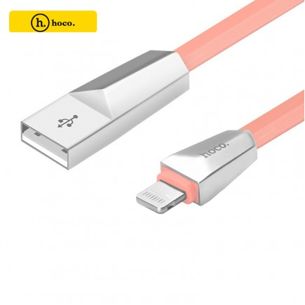HOCO X4 Zinc Alloy Data Charging Cable For IOS Devices - Pink
