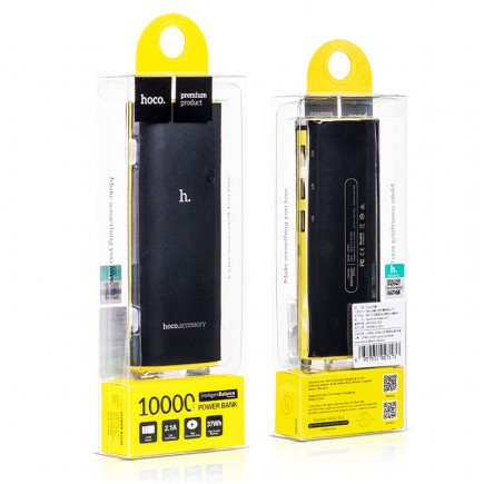 HOCO 10000 mAh External Power Bank with 3 USB & LED Lamp for All Smartphones & Tablets - Black
